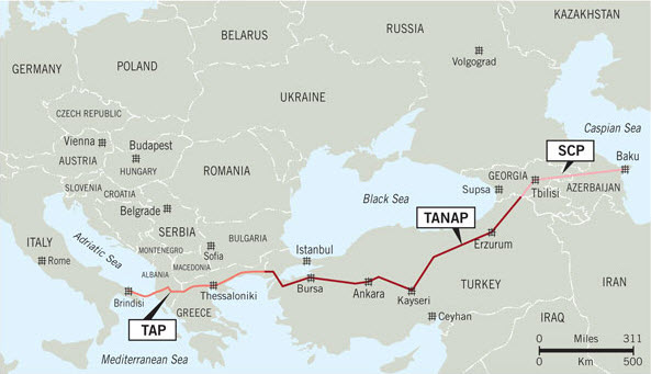 """BERD va aproba un împrumut de 500 de milioane de euro pentru proiectul gazoductului TAP, cel pe care Italia îl considera """"inutil"""""""